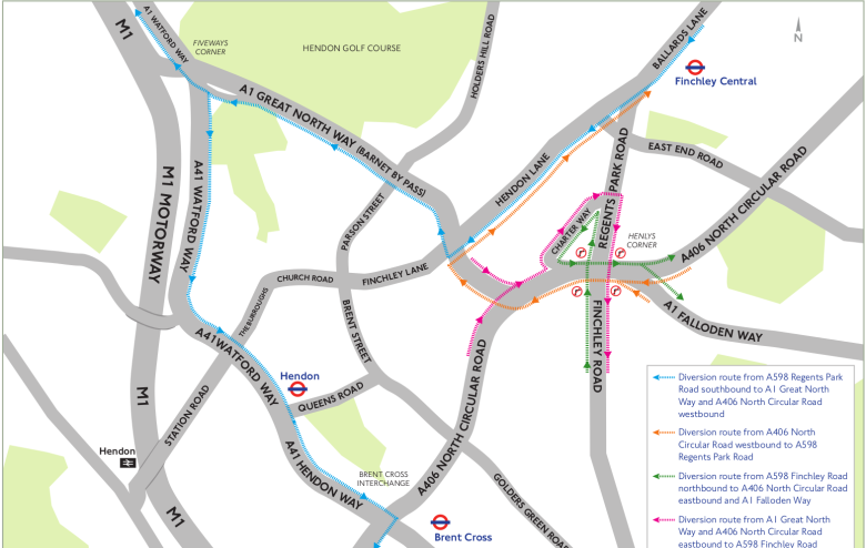 Map of diverted traffic